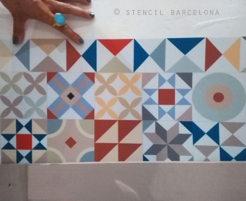 Vinilos baldosa hidraulica paredes pintadas pinterest - Baldosa hidraulica barcelona ...