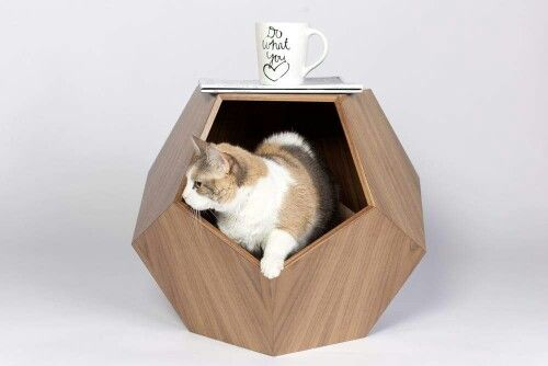 Modern Cat Furniture Geometric Cat House Wood Pet Furniture