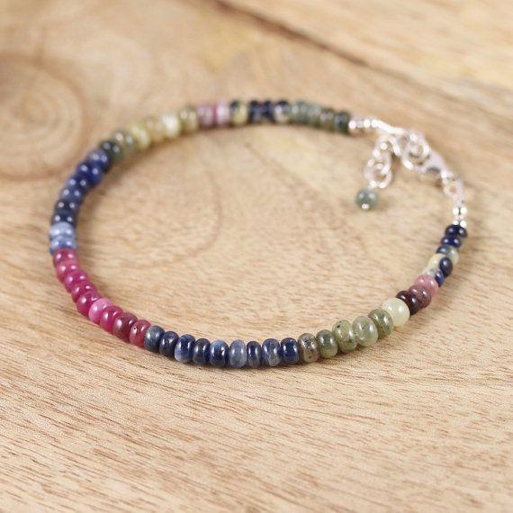 Multi Color Sapphire Sterling Silver Bracelet Dainty Beaded