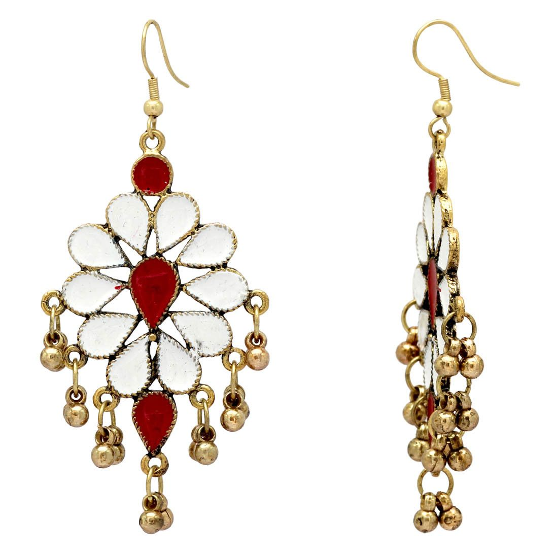 White Red Color Gold Plated Afghani Earrings Artificial Jewellery Online Fashion Whole Jewelry Indian