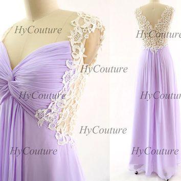 Lavender Prom Dresses, Lace Straps Long Chiffon Prom Gown, Straps ...