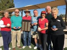 Fall Season Night League Champions, The Hare and Hounds, proudly show off their trophy. Left to right: Nancy and Kenny Hess, Captain Keith Charlesworth, Co-Captain Ray DuBois, Monika Charlesworth, Rick Reichenbach and Chris DuBois
