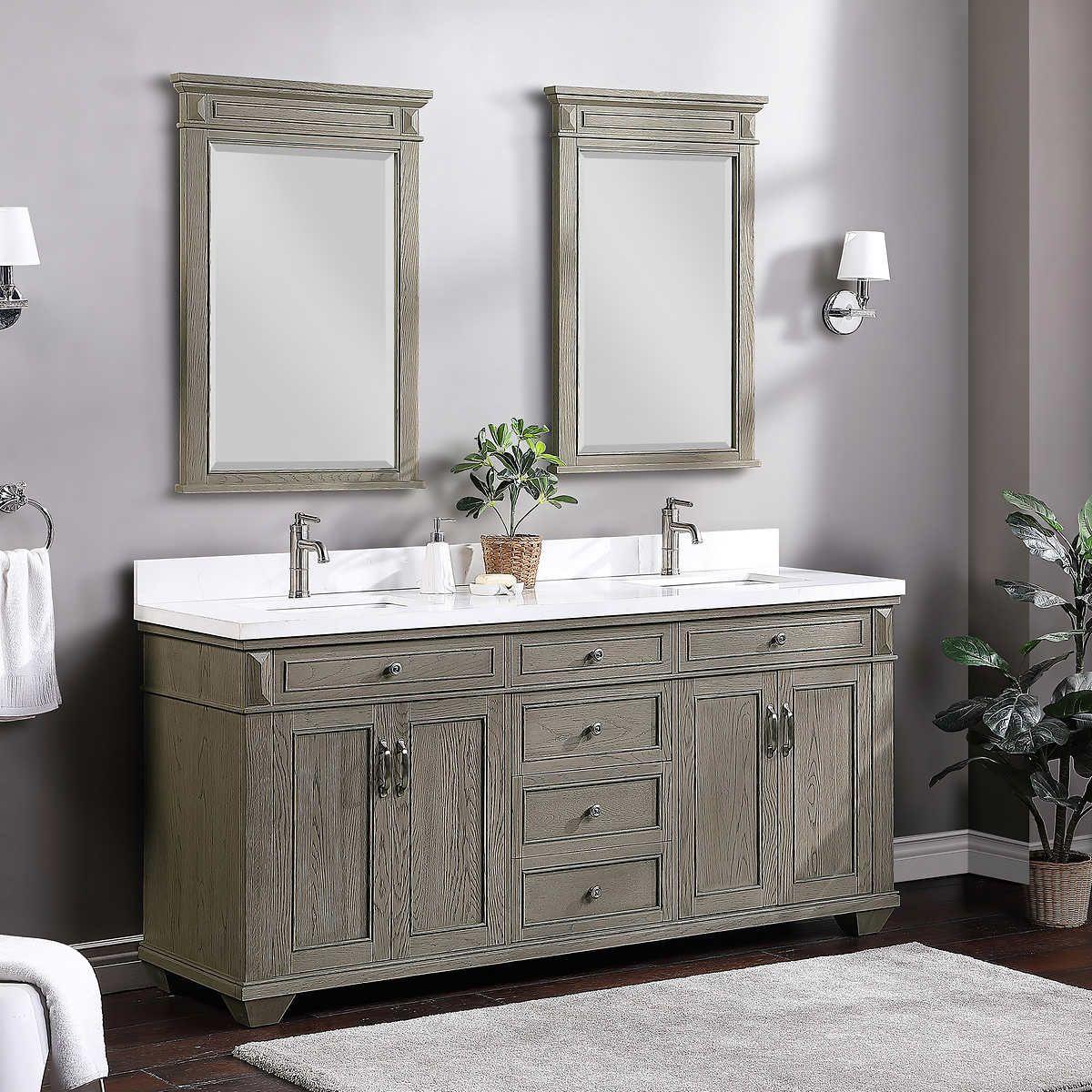 "72"" Antique Gray Oak Bath Vanity By Northridge Home in"