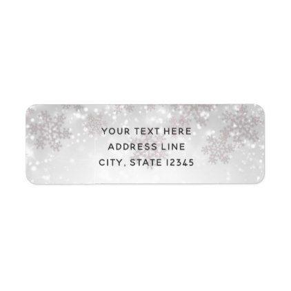 White Sparkle Snowflakes Winter Wonderland Wedding Label Pinterest