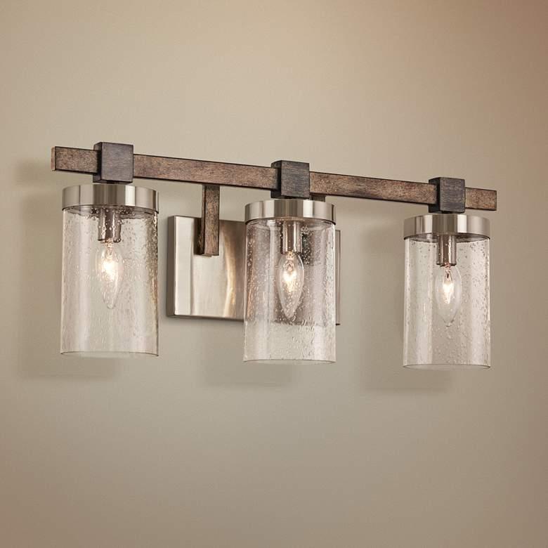 Bridlewood 22 1 2 Wide Brushed Nickel 3 Light Bath Light 47h19 Lamps Plus Modern Bathroom Decor Bathroom Decor Bathroom Light Fixtures
