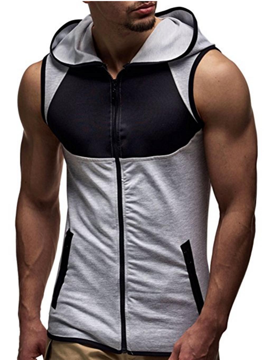 443eafc4 Mens Athletic Active Casual Blocks Sleeveless Hoodie Zip-up Vest Gym ...
