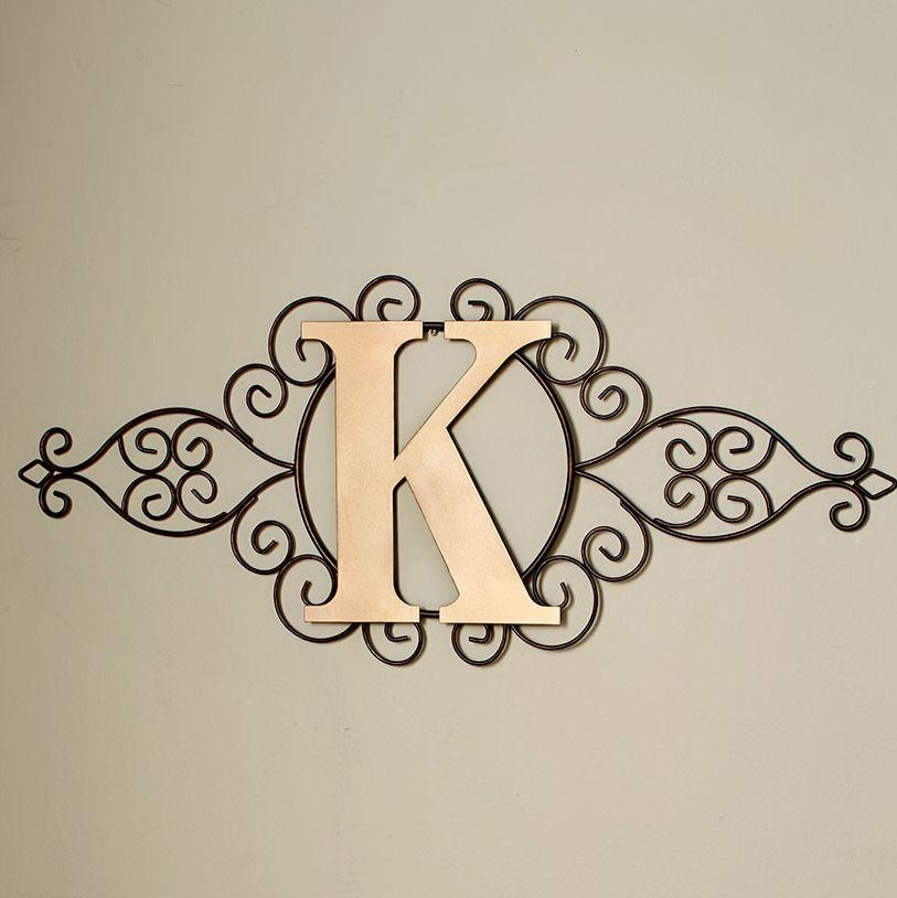 The Letter K Indoor Outdoor Wall Hanging Metal Rustic Initial
