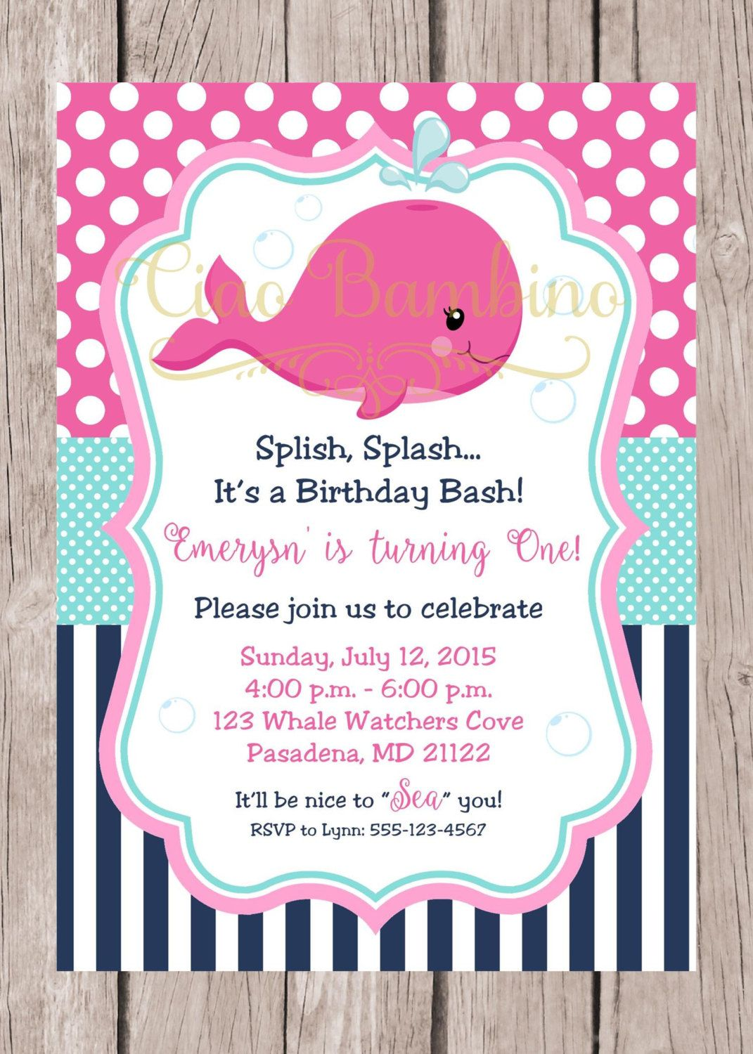 PRINTABLE Pink Whale Birthday Party Invitation / Navy Blue, Hot Pink ...