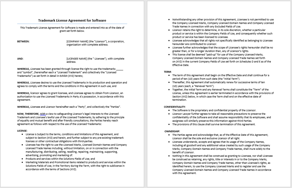 Trade Agreement Template Word Excel Pdf Templates