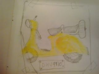 Theme: Yellow  My gradnfather's yellow Vespa