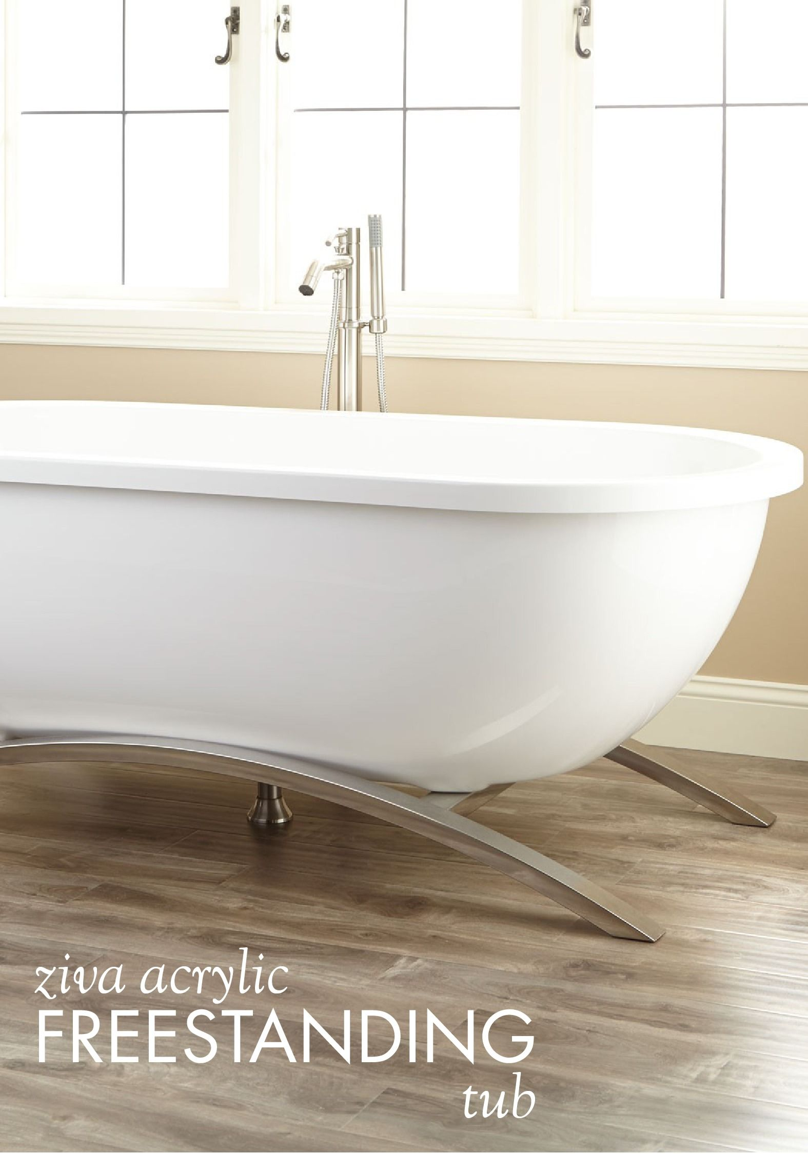 This Elegant Acrylic Freestanding Tub Is Supported By Sturdy Curved Metal Legs This Design Allows You To Recline On Either End Making This The Most Luxurious B
