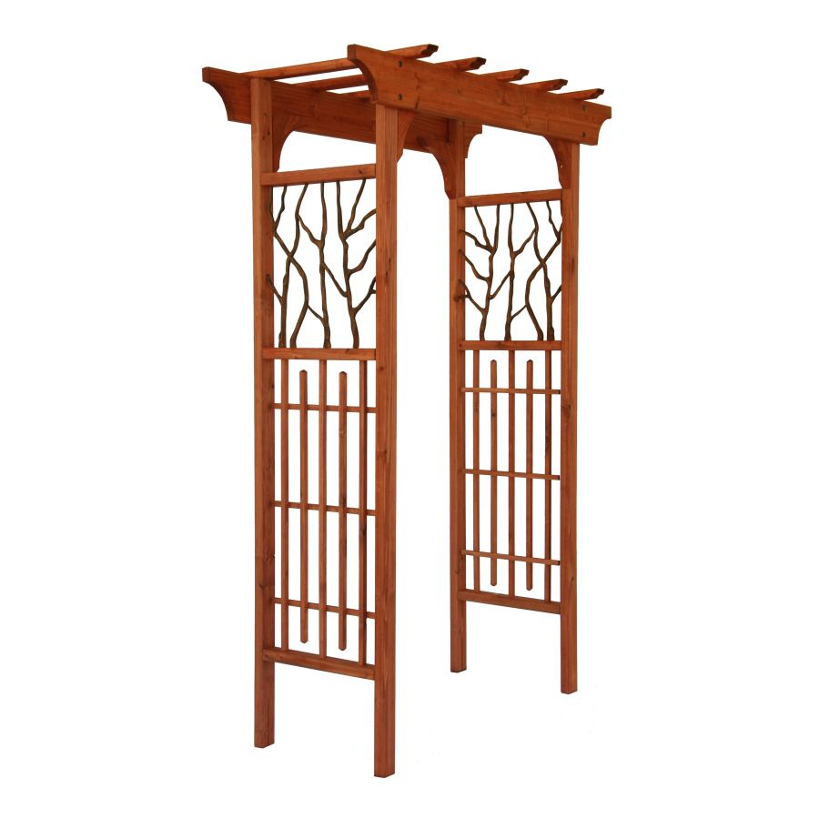 garden arbor lowes. Matthews Four Seasons Hickory Wood/Metal Arbor Heartwood At Lowes.com Garden Lowes