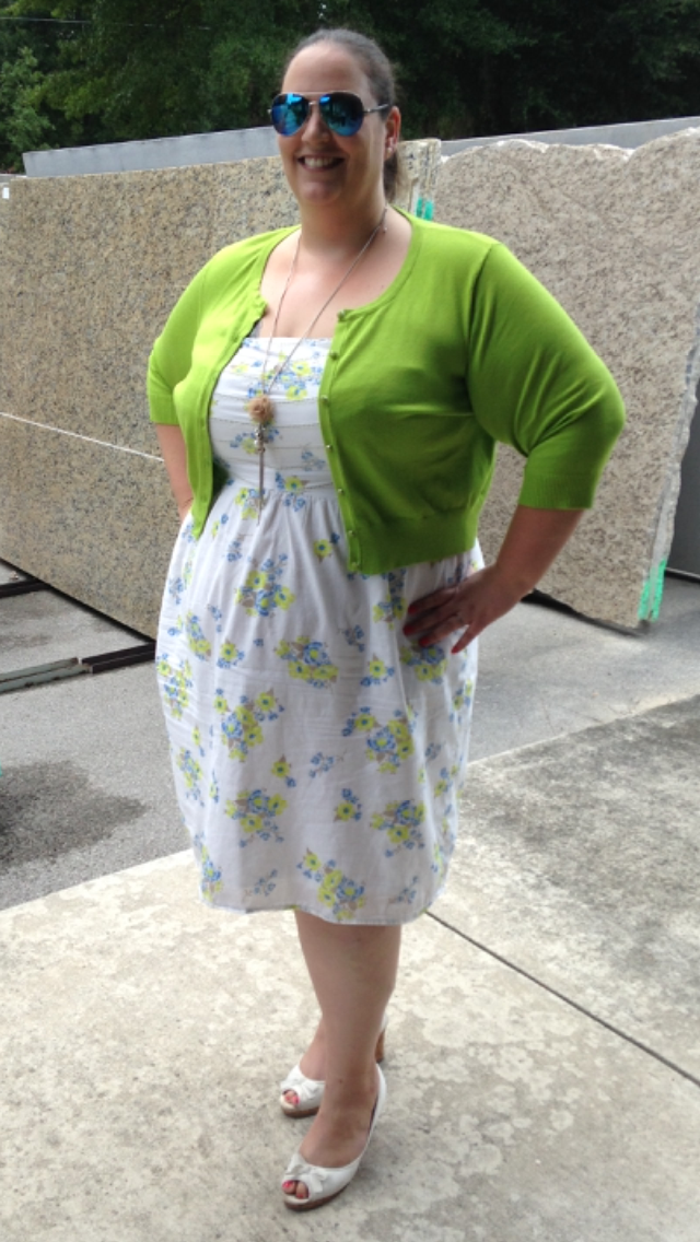 Great Summer Plus Size Outfit Dress and necklace from Old Navy, Cardigan and Sun Glasses from Catos, Shoe from Payless