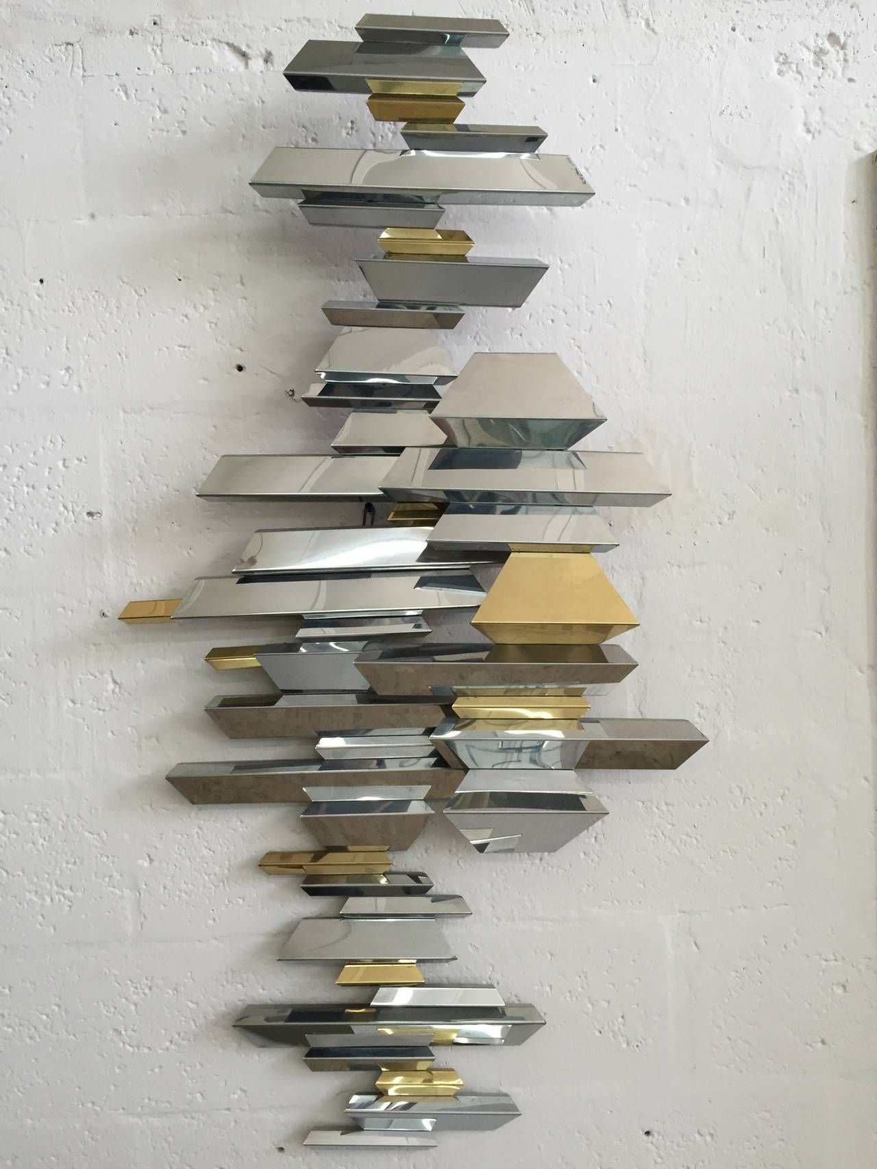 Mid Century Retro Vintage Curtis Jere Br And Chrome Wall