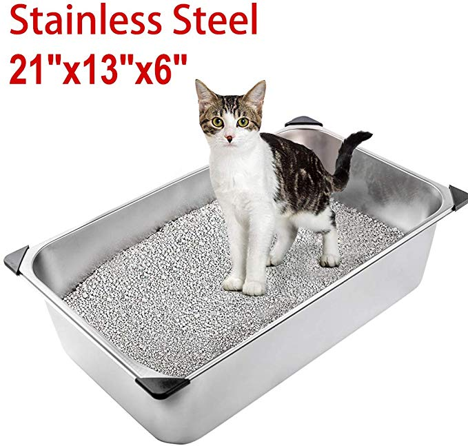 Amazon Com Expawlorer Stainless Steel Large Cat Litter Box Non Stick Durable And Smooth Surface Easy To Clean Never A In 2020 Cat Litter Cat Litter Box Litter Box