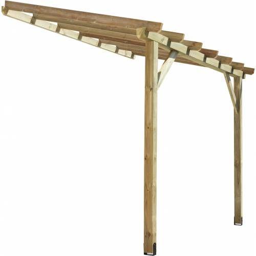 prgola de madera adosada 29 x 2 m para final piscina
