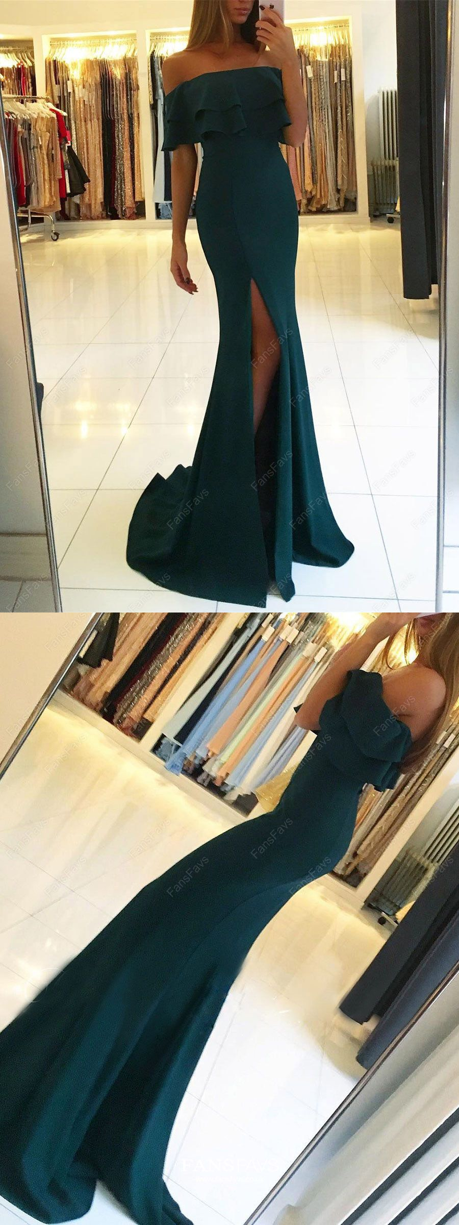 Green prom dresses mermaid long prom dresses with slit offthe