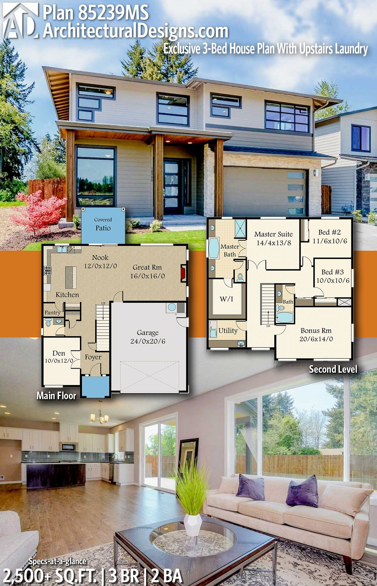 Plan 85239ms Exclusive 3 Bed House Plan With Upstairs Laundry Modern House Plans House Plans Farmhouse House Plans