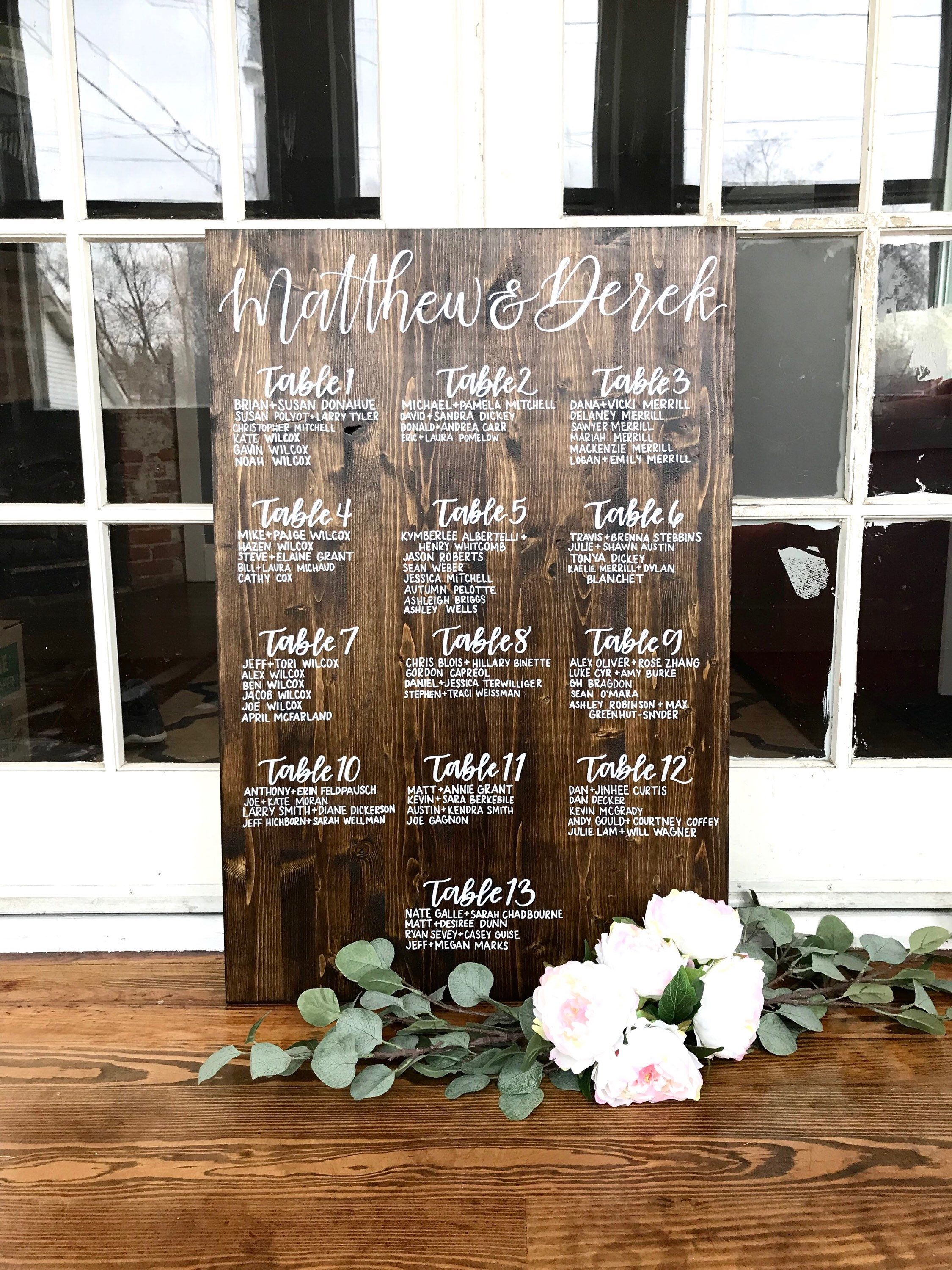 Custom Wood Wedding Seating Chart Guest List Hand Written Etsy In 2020 Seating Chart Wedding Wood Wedding Signs Rustic Rustic Seating