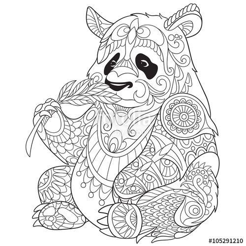 Vector Zentangle Stylized Cartoon Panda Isolated On White