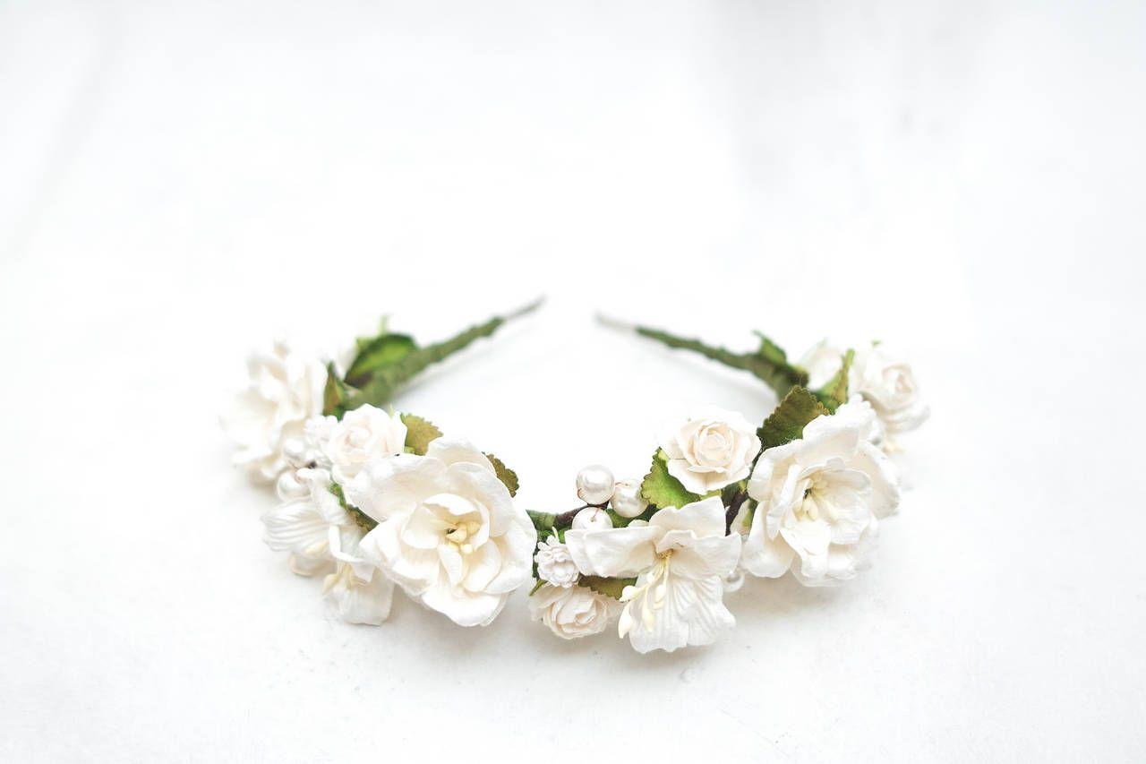 White flower headpiece white flower crown wedding white hawaiian white flower headpiece white flower crown wedding white hawaiian flower crown floral wreath izmirmasajfo