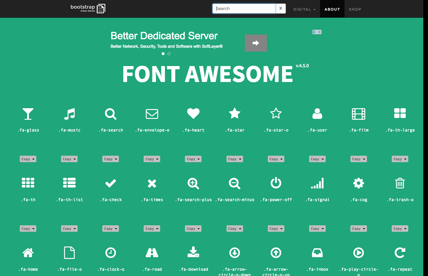 Font Awesome v.4.5.0 Bootstrap Cheat Sheets Web design
