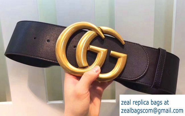 33afaa3ca2e Gucci Width 7cm Wide Leather Belt With Double G Buckle Black 2017 ...