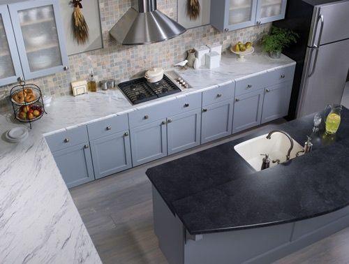 Wilsonart Laminate Calcutta Marble And Black Alicante Crescent Edges Kitchen Countertops