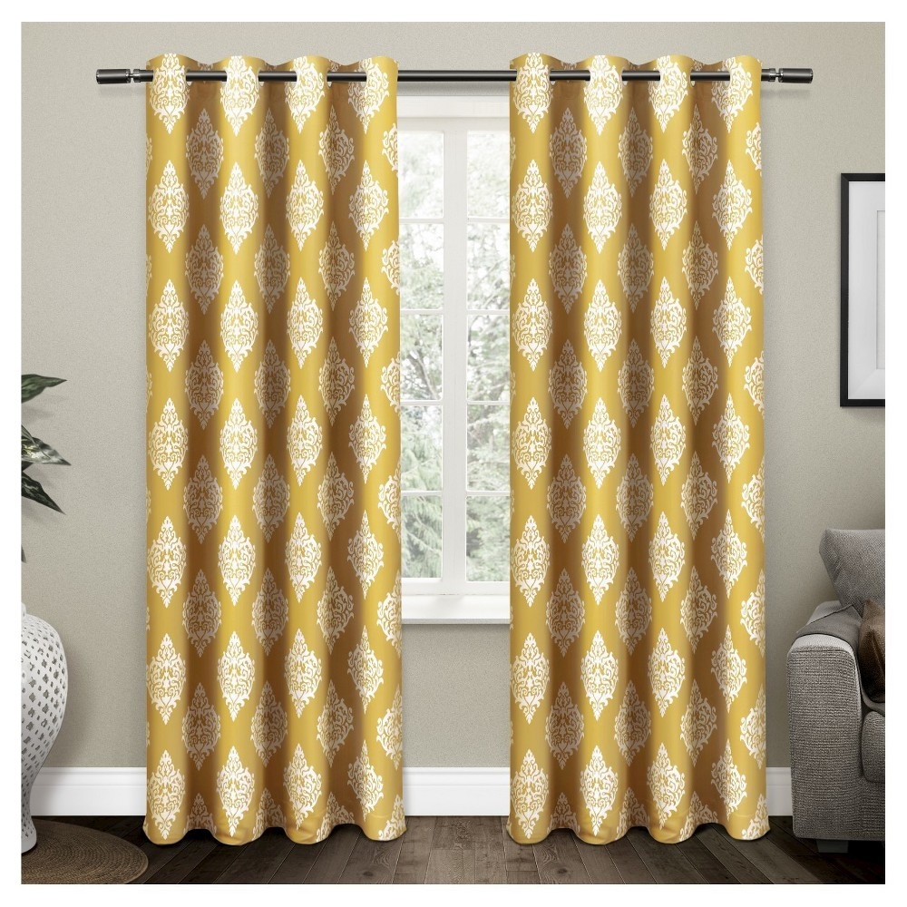 Set Of 2 Pair Medallion Blackout Thermal Grommet Top Window Curtain Panels 52 X84 Exclusive Home Yellow