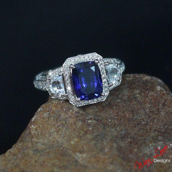 DV Jewels Blue Quartz Cushion Cut Bezel Set Ring