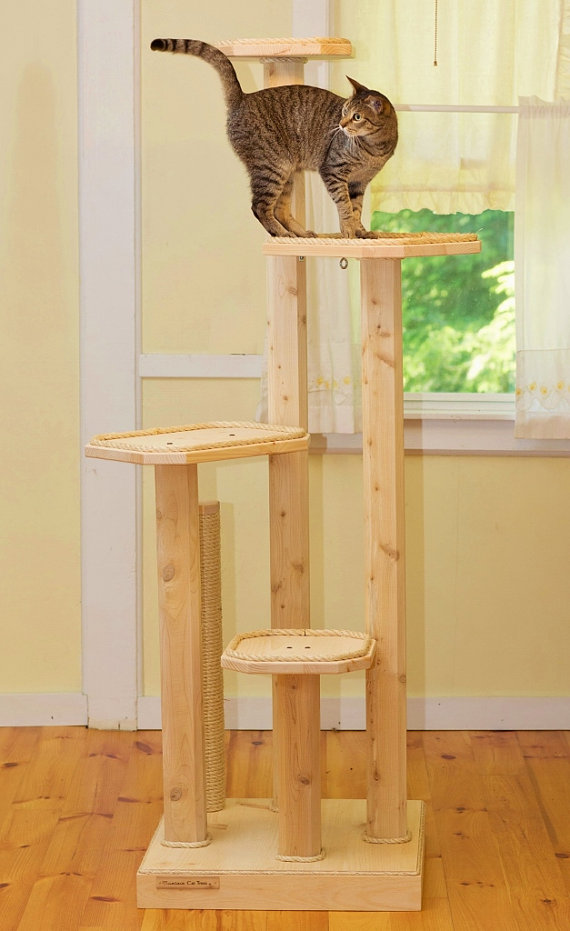 Cat accessories cat tree cat and natural for Wooden cat tree designs