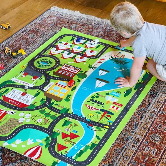 image about Printable Floor Mats called Boys Match Mat Activity - Printable Village Game Mat For