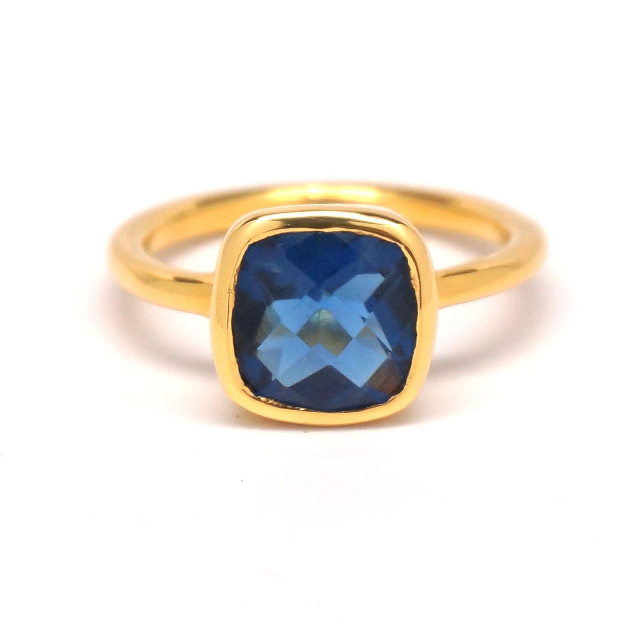 Dark Blue Quartz Square Gold Ring | Gemstone engagement ...