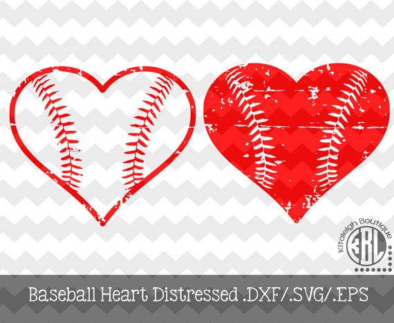 Download Baseball Heart Distressed INSTANT DOWNLOAD in dxf/svg/eps ...