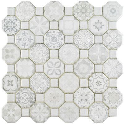 Edredon 12 X 12 Ceramic Octagon And Dot Mosaic Wall Floor Tile Flooring Tile Floor Small Bathroom Decor
