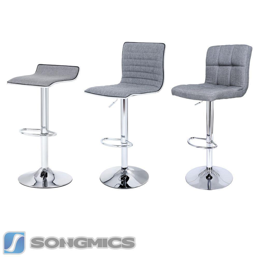 2 x barhocker aus grau stoff leinen barstuhl drehstuhl for Barhocker bei ebay