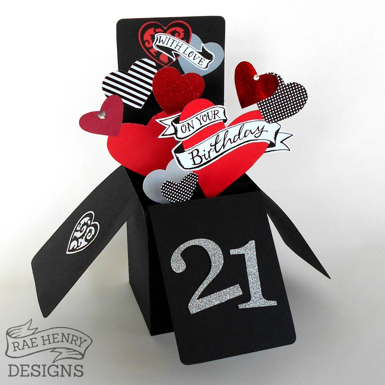 3 D Pop Up Box #Birthday Card Custom Age #Rockabilly Tattoo