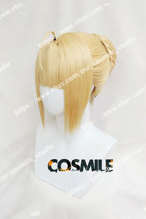 Photo of Fate Grand Order FGO Saber Arturia Cosplay Bun Hair Wig Ribbon Anime Game WW#Sab…