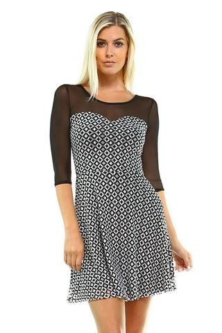 Marcelle Margaux Printed Mesh Dress