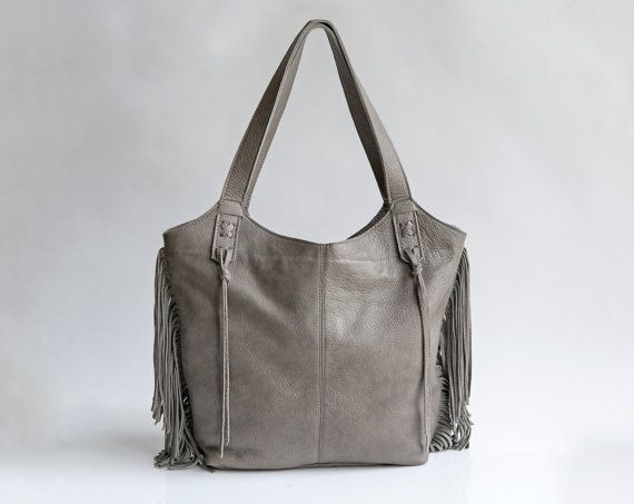 Dark Grey Leather Tote Bag - Soft Leather Bag - Fringe bag ... deba87f3a1742