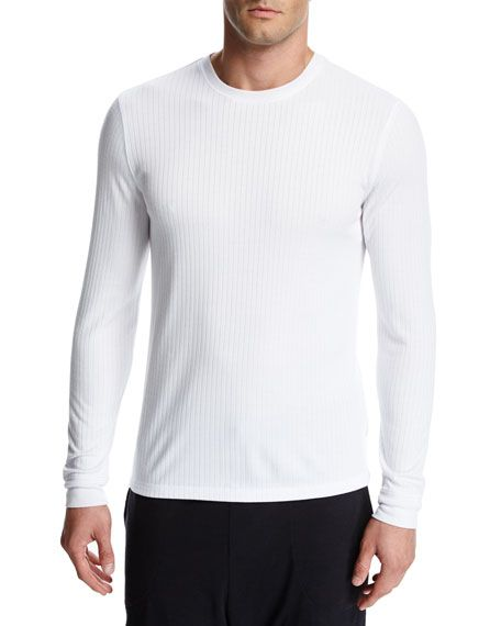 VINCE Flat-Back Ribbed Long-Sleeve Crewneck T-Shirt, White. #vince #cloth #
