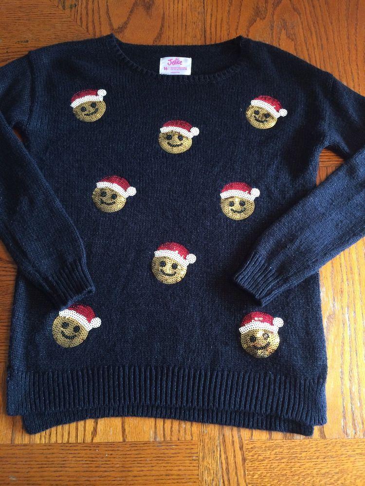 Justice Girls Size 16 Holiday Sweater Emoji Santa Hats Ebay Girls Size 16 Holiday Sweater Sweaters