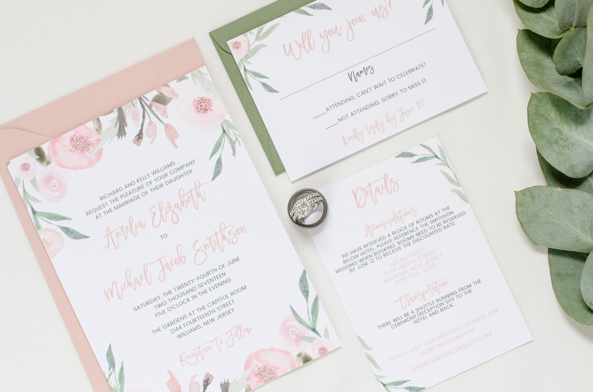 Blush and Eucalyptus Wedding Invitation Mauve and Greenery Invite ...