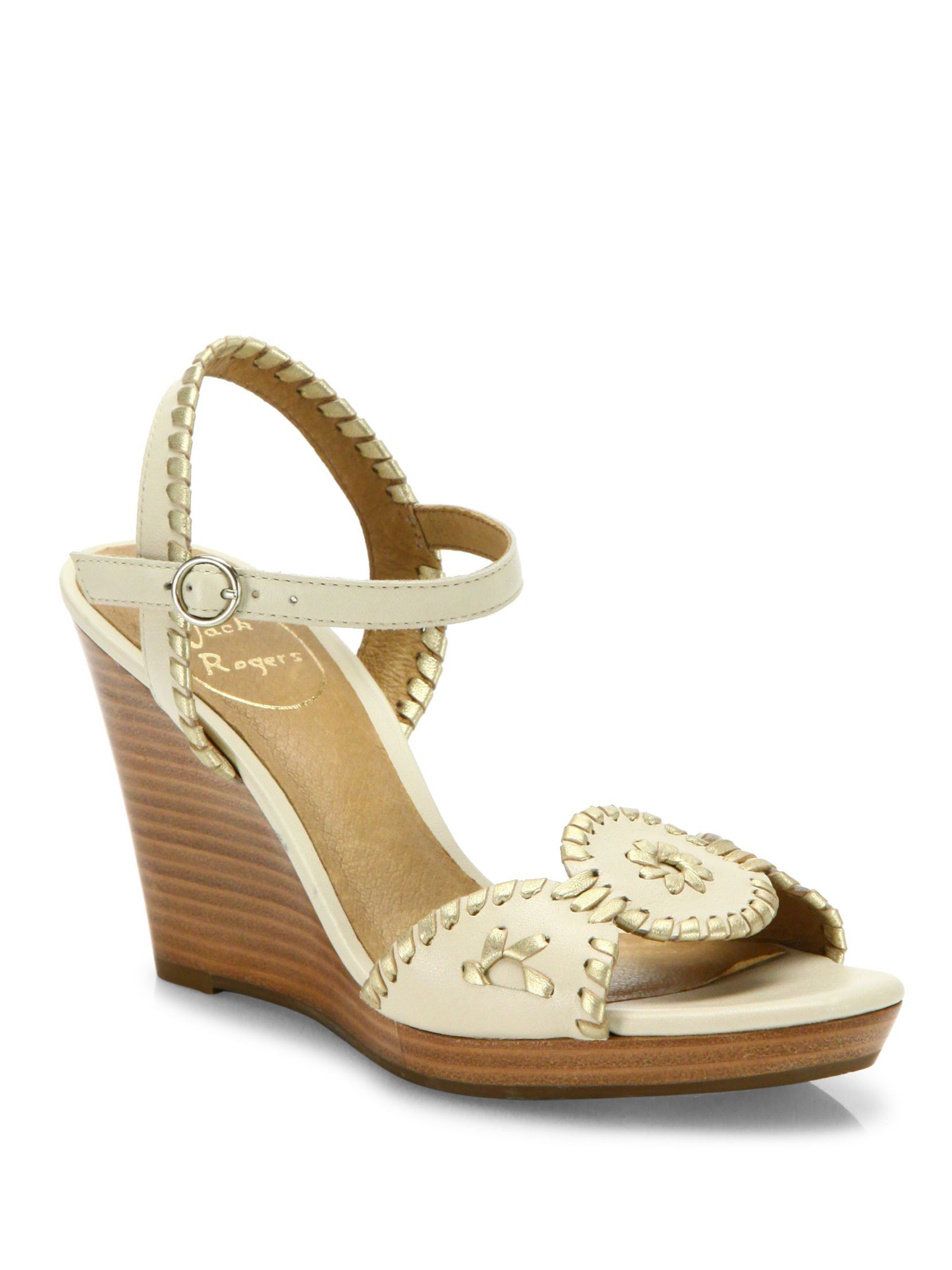 Jack Rogers Clare Whipstitch Leather Ankle-Strap Wedge Sandals