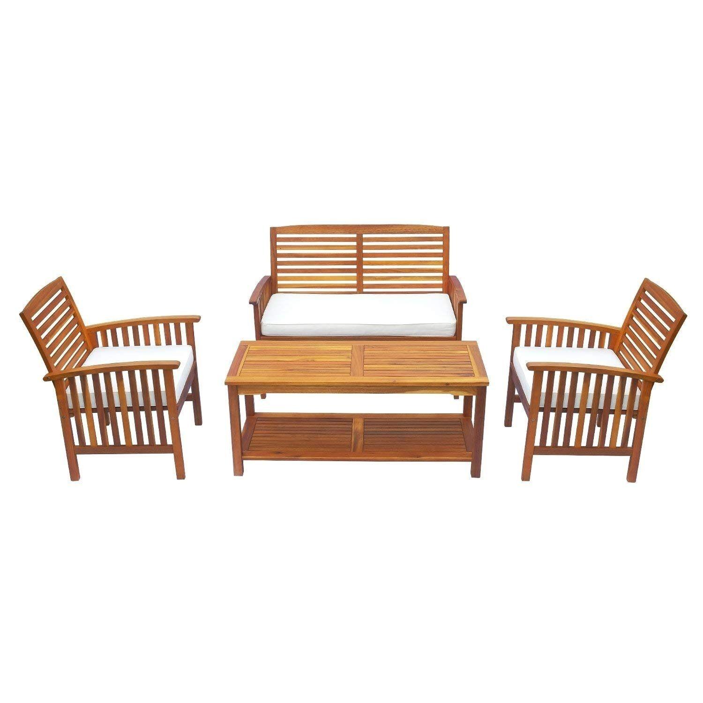 Super Outsun Acacia Wood 4 Piece Outdoor Conversation Set Loveseat Unemploymentrelief Wooden Chair Designs For Living Room Unemploymentrelieforg