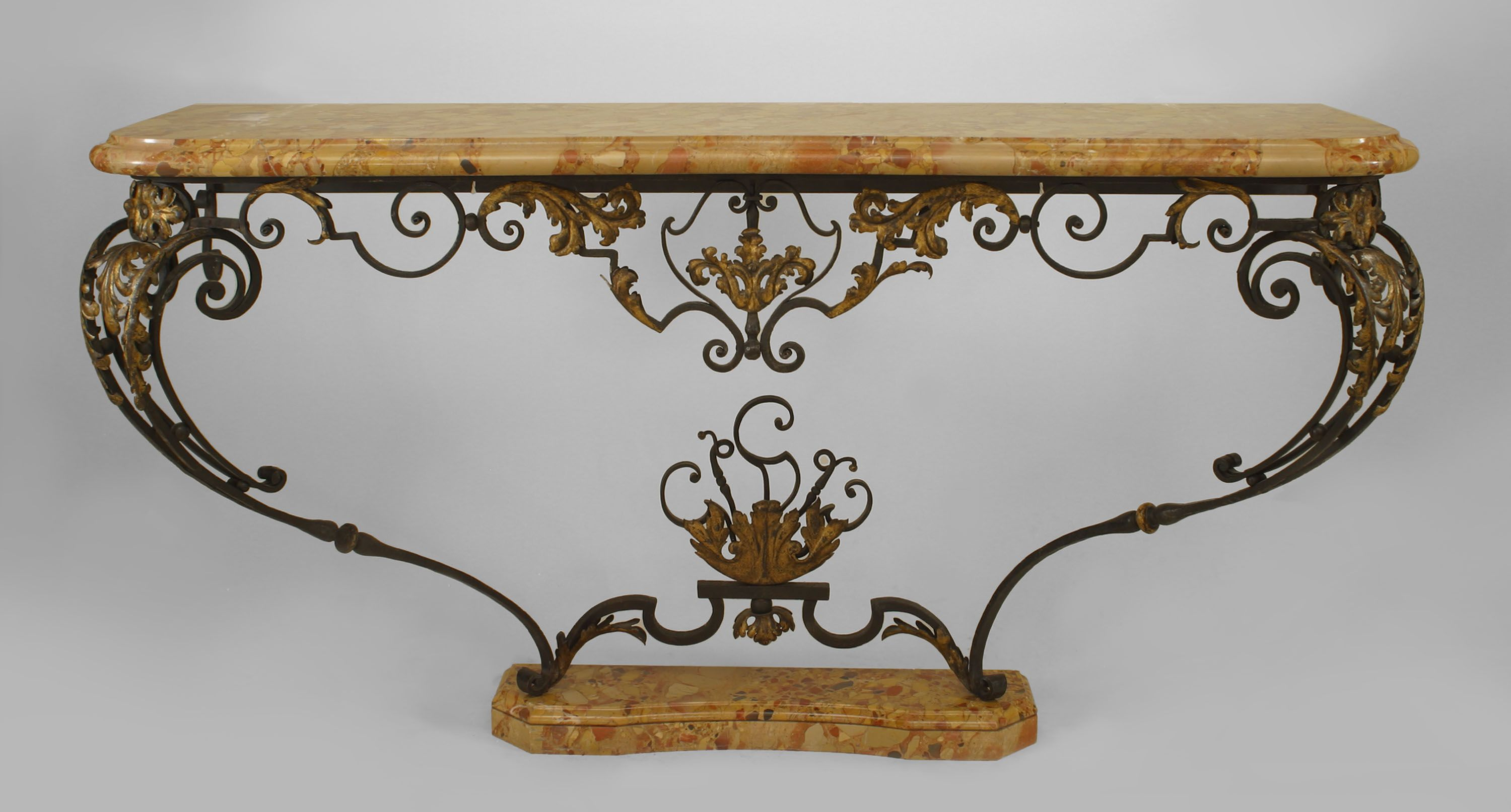 French Victorian Iron Console Table With Scroll From Design And