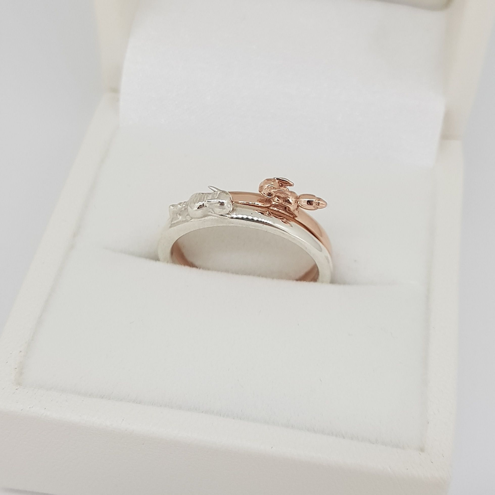 White Gold Pikachu Ring With Matching Rose Gold Eevee Ring That Dad And I Made Pokemon Jewelry White Gold Jewelry