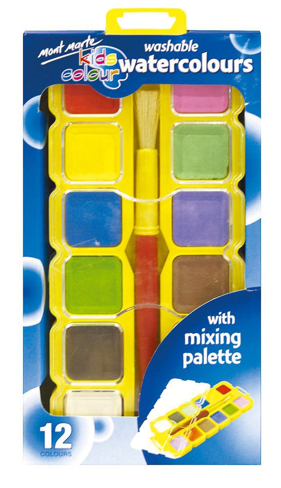 Mont Marte Kids - Washable Watercolour Paint Set | Kids colouring ...