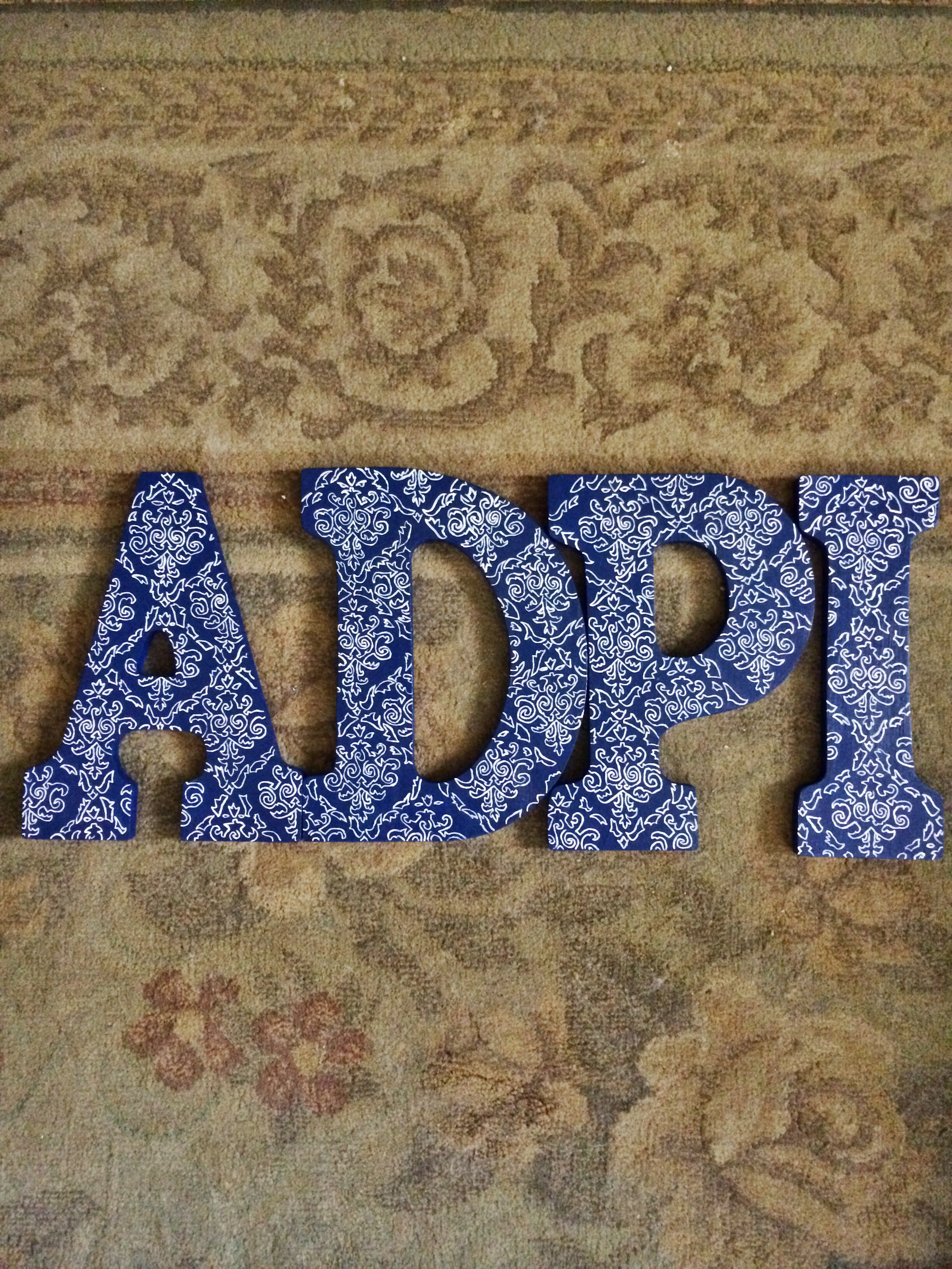 Hand painted my own ADPi damask letters  #LoveMySorority