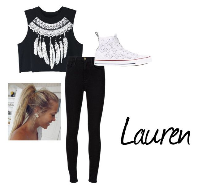 """""""Lauren """" by hagelbagel02 ❤ liked on Polyvore featuring WithChic, Frame Denim and Converse"""
